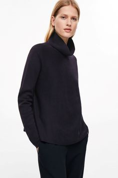 COS image 2 of A-line milano knit jumper in Navy
