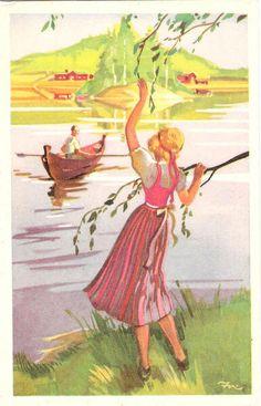 Vintage Postcards, Pond, Disney Characters, Fictional Characters, Disney Princess, Painting, Illustrations, Art, Illustration