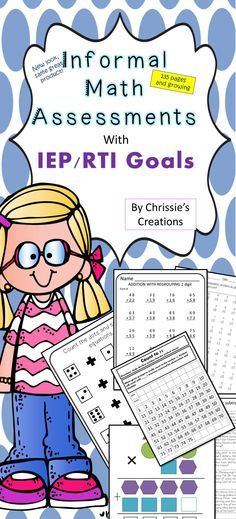 Education: Informal Math Assessments great for special education teachers. Comes with IEP goals.