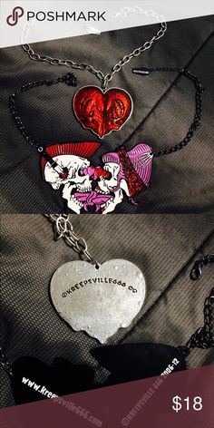 Kreepsville 666 necklace bundle Both amazing unique necklaces from kreepsville 666 two skeletons lovers kissing it's called the tongue tied necklace and the the red skull heart necklace both have amazing detail to it, both in brand new condition Tags: rocker edge alternative rockabilly goth gothic skull skulls heart skeletons lover true love kreepsville 666 Jewelry Necklaces