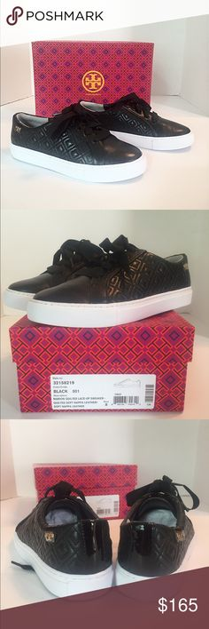 Tory Burch Marion Quilted Lace-Up Sneaker NWT Brand new in box! I ordered the wrong size. Black quilted soft Nappa leather and grosgrain laces. Super stylish and comfortable!  Leather lining, leather upper, rubber sole. Comes in original box. Fits true to size. Tory Burch Shoes Sneakers