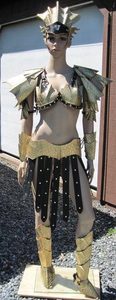 Ladies Dragon Scale Leather Armor Partial Set. $580.00, via Etsy.