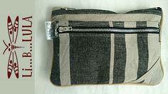 Monedero de lino con doble cremallera. www.liblula.com