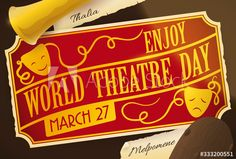 Golden Ticket for Special Presentation during World Theatre Day, Vector Illustration - Buy this stock vector and explore similar vectors at Adobe Stock World Theatre Day, Golden Ticket, Presentation, Illustration, Image, Illustrations