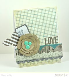 card with circle flower leaves scripty love grid background paper DSC_0159.1
