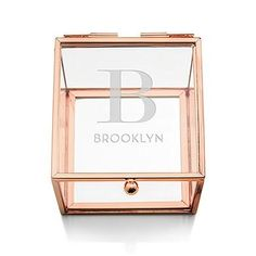 Small Personalized Glass Rose Gold Jewelry Box - Modern Initial Print