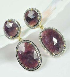 Sterling Silver Jewelry Wonder Sapphire/White Topaz Vermeil Earrings US - 312 #SilvestoIndia #DropDangle