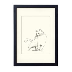 White cat illustration black and white giclee print with by liatib