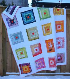 ROYGBIV Log Cabin Quilt - all done - not sure which side is prettier - the front or back!!!