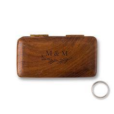 Natural Charm Personalized Pocket Size Wooden Wedding Ring Box - Garland Under - Wedding Paper Divas