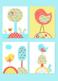 Aqua Coral Yellow Bird Nursery Decor Girl's Room Decor Baby Girl Nursery Art Birds toddler Children Set of 4 Prints Bird Canvas Prints Bird Nursery, Yellow Nursery, Woodland Nursery, Nursery Art, Nursery Decor, Nursery Ideas, Aqua Coral, Bird Canvas, Pink Bird