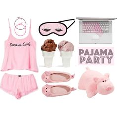 Pink Pajama Party by junglover on Polyvore featuring polyvore fashion style Wildfox Accessorize Pillow Pets H&M