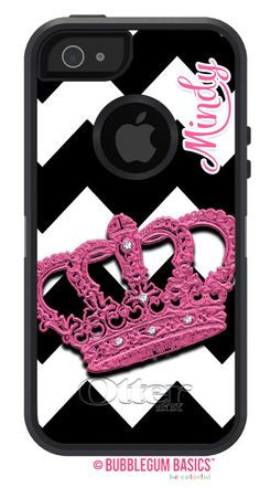 OTTERBOX Defender iPhone 5 5S 4/4S Case CROWN Princess Pink Black Chevron Name Initials Personalized Monogram