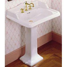 Pedestal Sink Backsplash : ... China Washbasin w/ Backsplash Pedestal Sink - 7inch Faucet Drillings