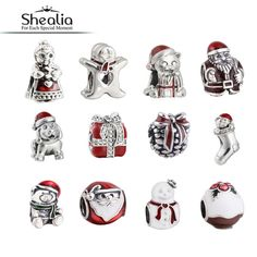 SHEALIA 925 Sterling Silver Christmas Gift Mrs Santa Claus Gingerbread Man Kitten Pudding Pine Cone Snowman Bear Dog Charm Beads