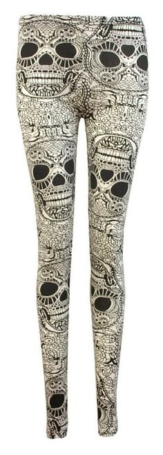 Amazon.com: Crazy Girls Women's Sugar Skull Printed Leggings: Clothing
