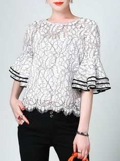 White Bell Sleeve H-line Lace Floral Guipure Blouse