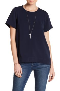Short Sleeve Hi-Lo Blouse