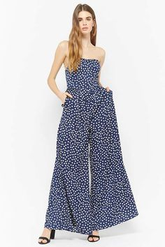 b92141213863 Navy printed wrap culotte jumpsuit