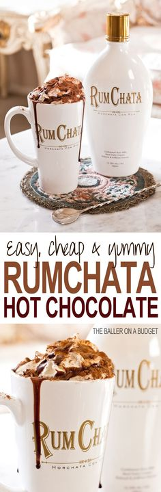 This Adult Hot Cocoa recipe is perfect for the holiday season: All you need is milk, hot cocoa mix, and Rumchata. Top with whipped cream and a chocolate sauce drizzle. Click through for the full recipe: THE BALLER ON A BUDGET (Christmas Drinks Rumchata) Christmas Drinks, Holiday Drinks, Party Drinks, Fun Drinks, Yummy Drinks, Yummy Food, Mixed Drinks, Tasty, Hot Cocoa Recipe