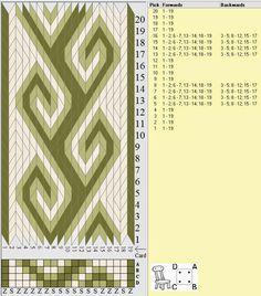 Rosemaling tablet weaving design.