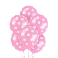 Pink and White Dots Latex Balloons (6) from BirthdayExpress.com