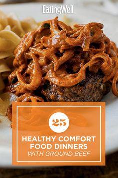 Enjoy one of these comforting dinner recipes made with ground beef. Ground beef is a quick-cooking, budget-friendly protein that works in a variety of dishes including pasta, chili and more. Try recipes like Broccoli, Beef & Tater Tot Hotdish and Mini Meatloaves with Green Beans & Potatoes for a cozy, delicious dinner that you'll turn to again and again. #comfortfood #healthyrecipes #healthycomfortfood #healthyrecipes Enchilada Casserole Beef, Beef Enchiladas, Healthy Ground Beef, Ground Beef Recipes, Tater Tot Hotdish, Dinner With Ground Beef, Healthy Comfort Food, Broccoli Beef, Baked Beans