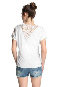 Esprit / Softes Melange-Shirt mit Spitzenrücken