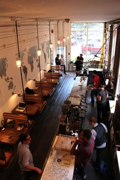 Good example of narrow bar/restaurant - The High Vaulted Ceilings and Industrial Interior make this Vancouver Coffee Shop one Hot Cafe Cafe Bar, Cafe Bistro, Cafe Shop, Decoration Restaurant, Deco Restaurant, Small Restaurant Design, Small Cafe Design, Rustic Restaurant, Bar Deco