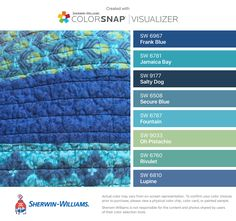 I found these colors with ColorSnap® Visualizer for iPhone by Sherwin-Williams: Frank Blue (SW 6967), Jamaica Bay (SW 6781), Salty Dog (SW 9177), Secure Blue (SW 6508), Fountain (SW 6787), Oh Pistachio (SW 9033), Rivulet (SW 6760), Lupine (SW 6810).