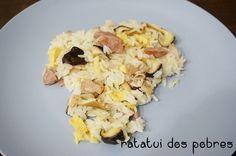 Arroz c/ salsicha churrasco, shitake e ovo mexido | ratatui dos pobres