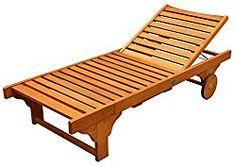 LuuNguyen Lindy Outdoor Hardwood Chaise Lounge, Natural Wood Finish