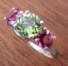Peridot & pink tourmaline ring