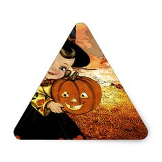 HAPPY HALLOWEEN TRIANGLE STICKER #halloween #holiday #creepyhollow #stickers