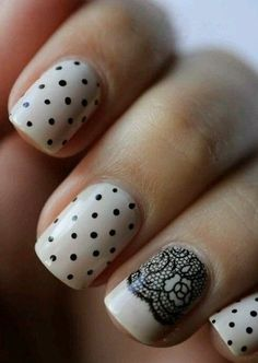 So cute. Polka dots and lace nail art black and natural off white color