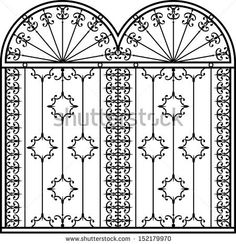 Wrought Iron Gate, Door, Fence, Window, Grill, Railing design - stock photo