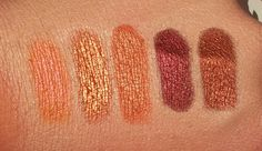 MAC Pigment Swatches // Pink Bronze, Copper Sparkle, Off the Radar, Heritage Rouge, Copperbeam