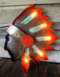 : Indian Chief Metal Marquee - Handmade Rustic Furniture & Home Decor - Handmade Home Decor, Handmade Furniture, Rustic Furniture, Living Room Furniture, Kitchen Furniture, Modern Furniture, Living Rooms, Outdoor Furniture, Affordable Home Decor