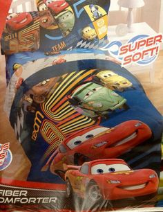 """Disney Cars 2 Movie Twin Microfiber Comforter and Sham by Disney. $28.99. Comforter size 64"""" x 86"""". Sham Size 20"""" x 26"""". Microfiber Super SoftTwin Comforter with Sham. Watch your racing fan speed into bed at night when the Disney Cars Bedding Set makes the bed comfy and cozy. Stylish, fun, and comfortable! Who could ask for anything better?"""