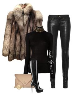 A fashion look from January 2017 featuring grey embellished top, gray fur coat and 5 pocket skinny jeans. Browse and shop related looks. Winter Fashion Outfits, Fall Winter Outfits, Cute Fashion, Autumn Fashion, Fashion Looks, Womens Fashion, Classy Outfits, Stylish Outfits, Winter Mode