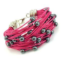Bransoletka sznurek sznurkowa fuksja kamienie hematyt Lens, Bracelets, Leather, Jewelry, Jewlery, Jewerly, Schmuck, Klance, Jewels
