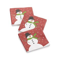 Joan Anderson of A&B Designs celebrates the season with this festively decorated beverage napkins depicting a snowman on a snowy day.