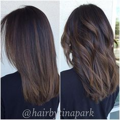 "77 Likes, 3 Comments - Tina Park  (@hairbytinapark) on Instagram: ""Straight vs. curled dimensional Balayage """