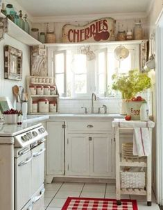 26 Modern Kitchen Decor Ideas in Vintage Style... this look would be cute as a laundry room putting the washer and dryer where the stove is!