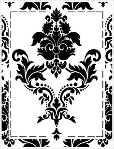 Large Damask stencil from The Stencil Library GOTHIC & MEDIEVAL range. Buy stencils online. Stencil code HG1. Interiores Art Deco, Stencils Online, Mandala, Stencil Painting On Walls, Damask Stencil, Catalog Design, Silhouette Cameo Projects, Border Design, Stencil Designs