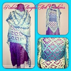 """Acquamarine Shawl"", 280 x 120cm, crocheted acrylic Yarn: CAD 150.- (+ shipping fee)... Available in many other colours... © Raleiah's Angels Art Creations @www.raleiahs-angels.com #creativityislife #loveforcolours #crochet #crochetaddict #cromoterapia #beautifulshawl #keepwarm #keepwarmthiswinter #enjoyinglife #acquashades #watercolour #❤️🙏🏻❤️ New Darlings, Nature Spirits, Yarn Shop, Angel Art, Keep Warm, Watercolour, Shawl, Angels, Art Gallery"
