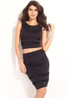 Black Mesh Cut Out Skirt and Top Set - Neptune Wild   - 1