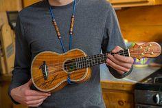 Handmade beaded adjustable ukulele strap that hooks in to the sound hole