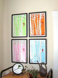 Screenprint  Winter Cardinal Art Print  - Poster Silkscreen Art Print - Snowy Birch Trees & Red Bird Art Print