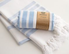 Light Blue Extra Thick Turkish Bath Towel Peshtemal by Orientina